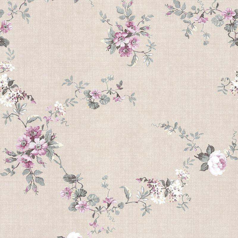 Kuitutapetti Tekstiili Blomma Beige|Vaaleanpunainen|Vihreä