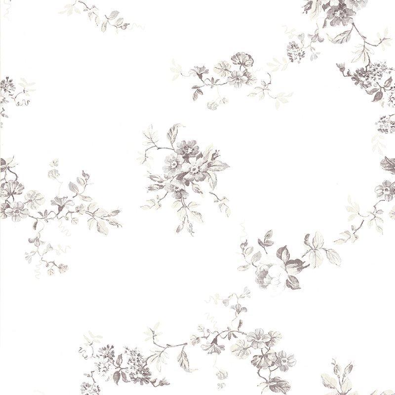Kuitutapetti Tekstiili Blomma Valkoinen|Harmaa